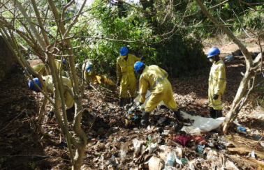 during clean up