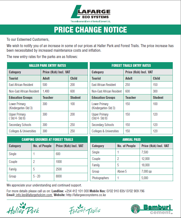 price change for haller park aand forest trails